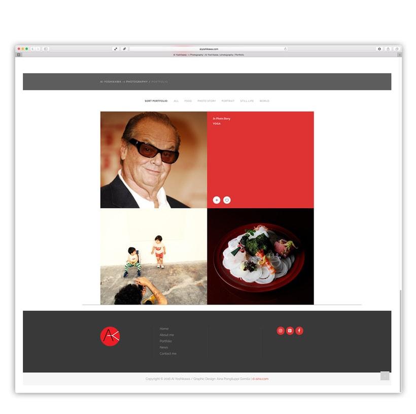 Ai Yoshikawa Photography. Diseño, programación web con customización de plantilla wordpress 1