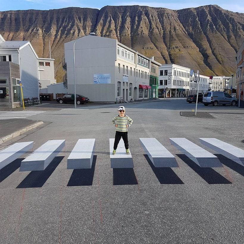 Islandia y los pasos de cebra 3D 3