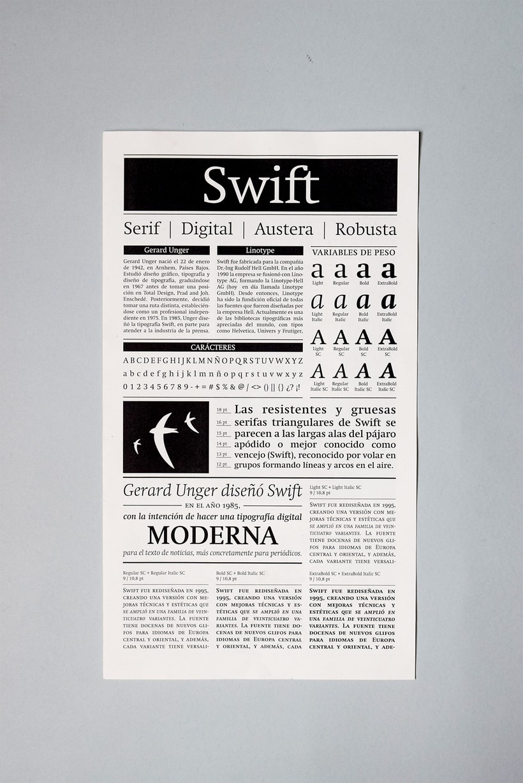 Swift: Espécimen tipográfico | Font Specimen 0