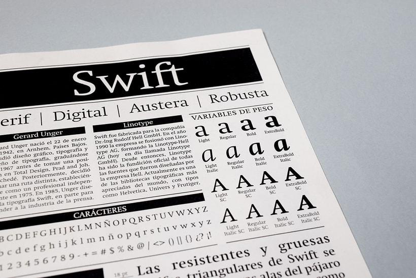 Swift: Espécimen tipográfico | Font Specimen 1
