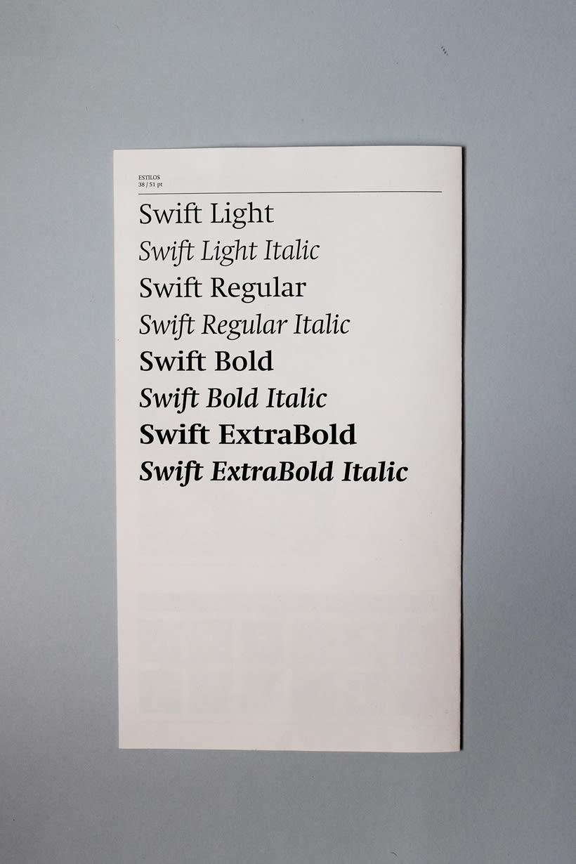 Swift: Espécimen tipográfico | Font Specimen 4