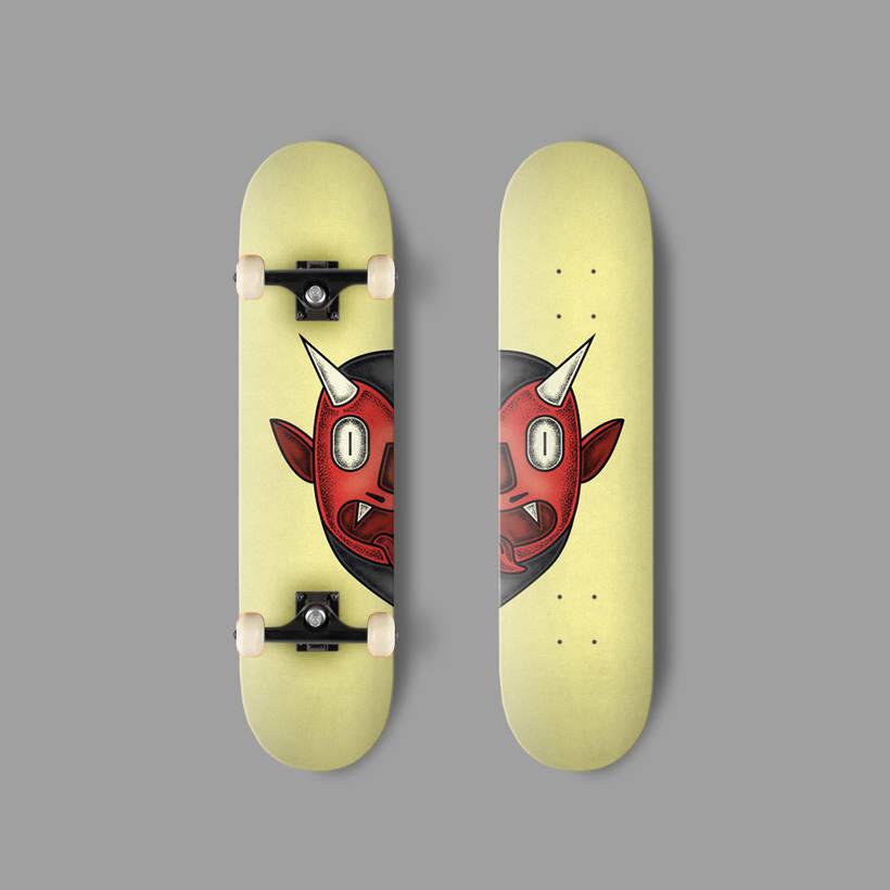 Diseños de dos monstruos de Halloween para tablas de skate 1