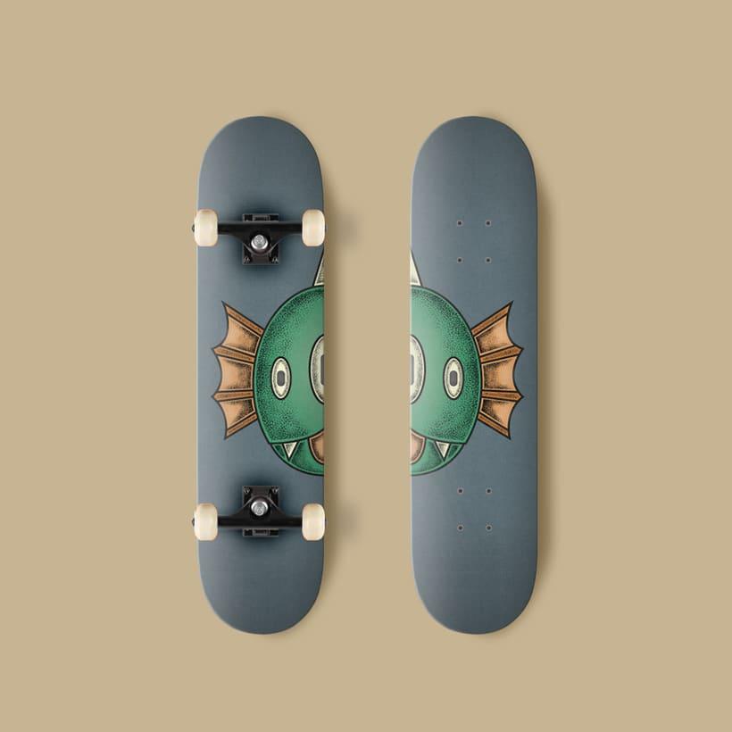 Diseños de dos monstruos de Halloween para tablas de skate 4