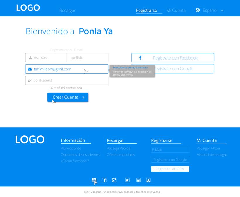 Diseño web para pagina de recarga de saldo 6