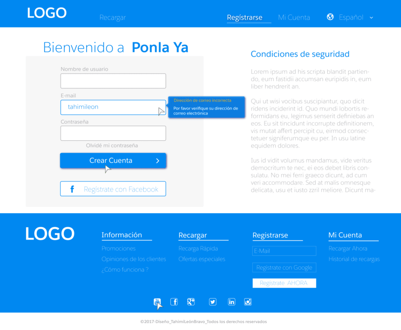 Diseño web para pagina de recarga de saldo 11