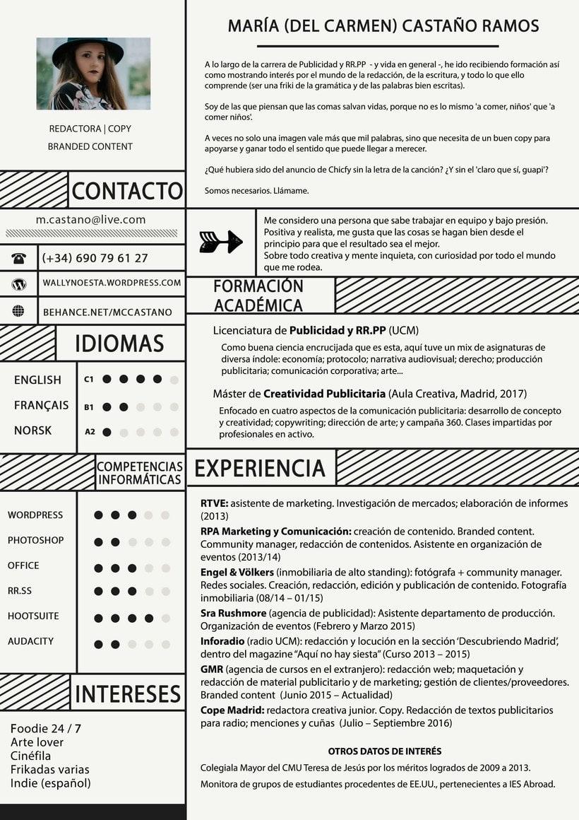 Currículo de María del Carmen Castaño Ramos, copy | redactora | branded content -1