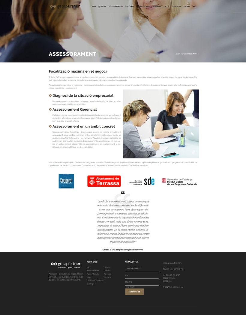 Web corporativa para Get a Partner 5