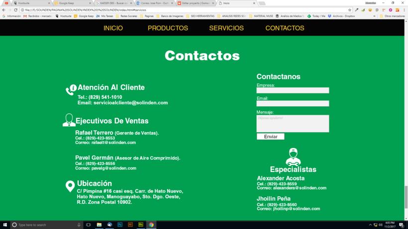 Mi Proyecto del curso: Diseño web responsive con Adobe Muse / Solinden Empresa de R.D 4