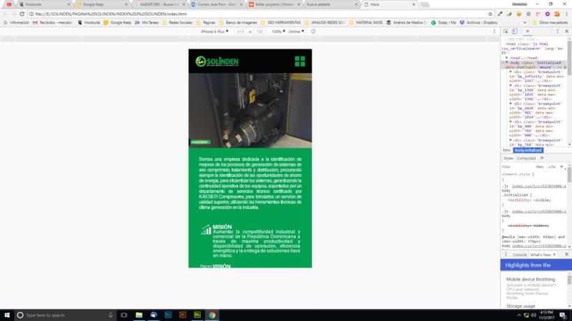 Mi Proyecto del curso: Diseño web responsive con Adobe Muse / Solinden Empresa de R.D 8
