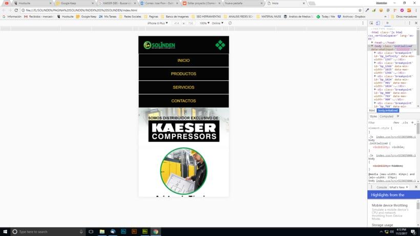 Mi Proyecto del curso: Diseño web responsive con Adobe Muse / Solinden Empresa de R.D 9