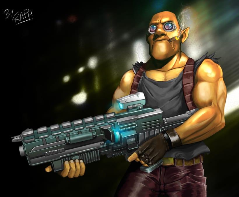 Yellow space bounty hunter -1