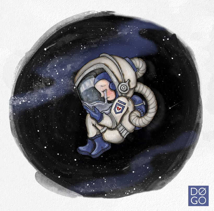 LOST IN SPACE _ ILUSTRACIÓN EN ACUARELA 0