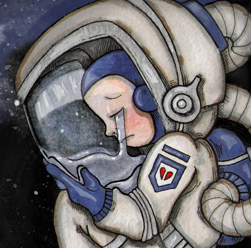 LOST IN SPACE _ ILUSTRACIÓN EN ACUARELA 1