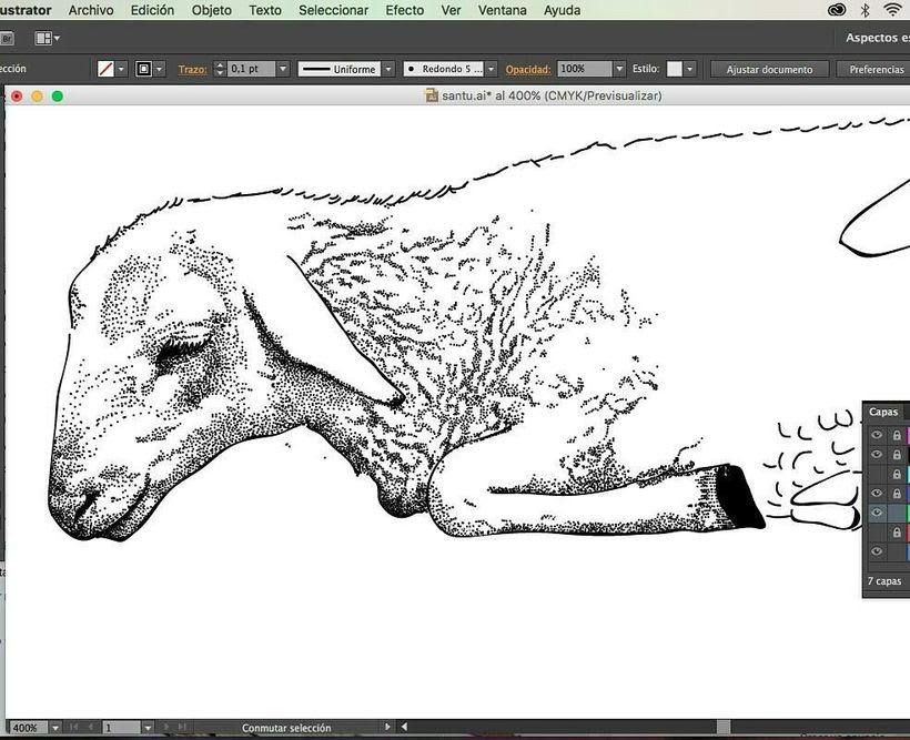 """Ilustración para diseño de camiseta para el santuario de animales """"La frontera"""" 1"""