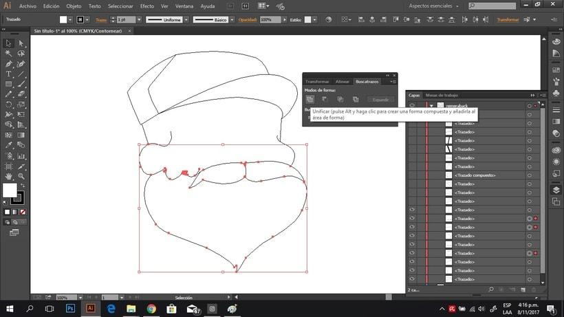 Como unir trazados en Illustrator 1
