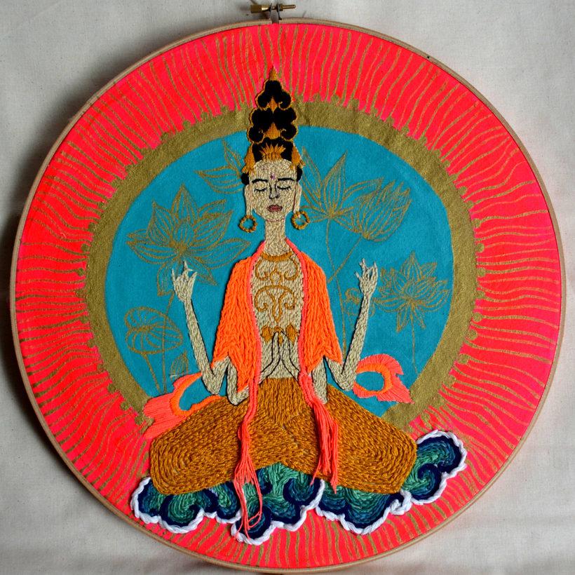 Ilustración bordada sobre la mujer en el mundo 5