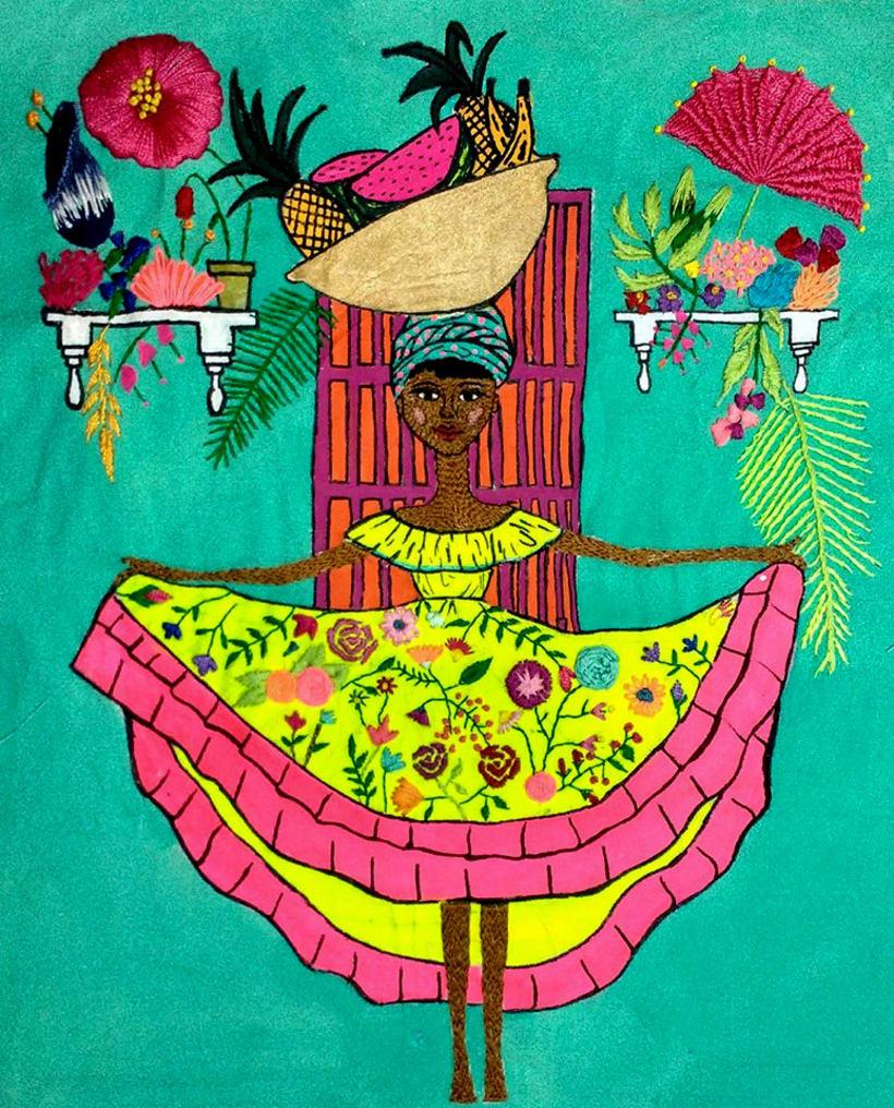Ilustración bordada sobre la mujer en el mundo 7