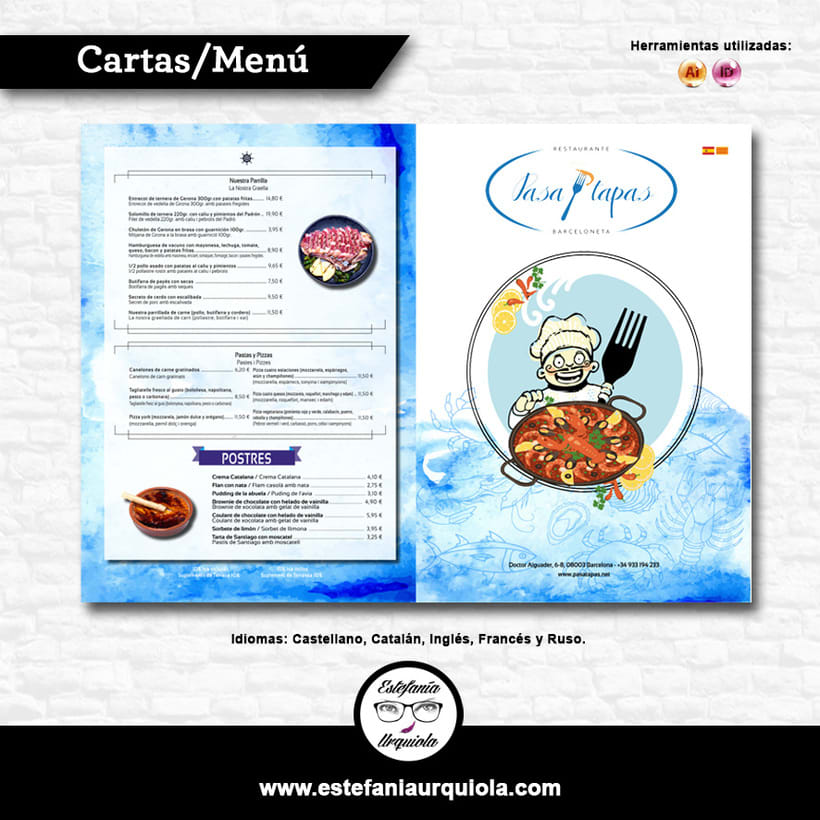 Carta Menú en Distintos Idiomas para Restaurante en Barcelona -1