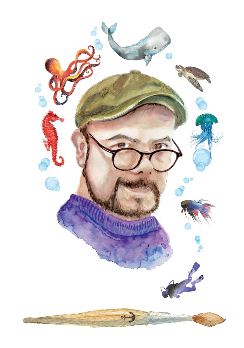 El buceo y la ilustración en acuarela. Mis dos grandes pasiones unidas en este autorretrato. -1