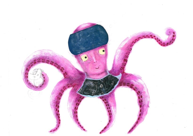 This octopus is the main character of the book that I am making a children's story. The technique is acrylic and collage. -1