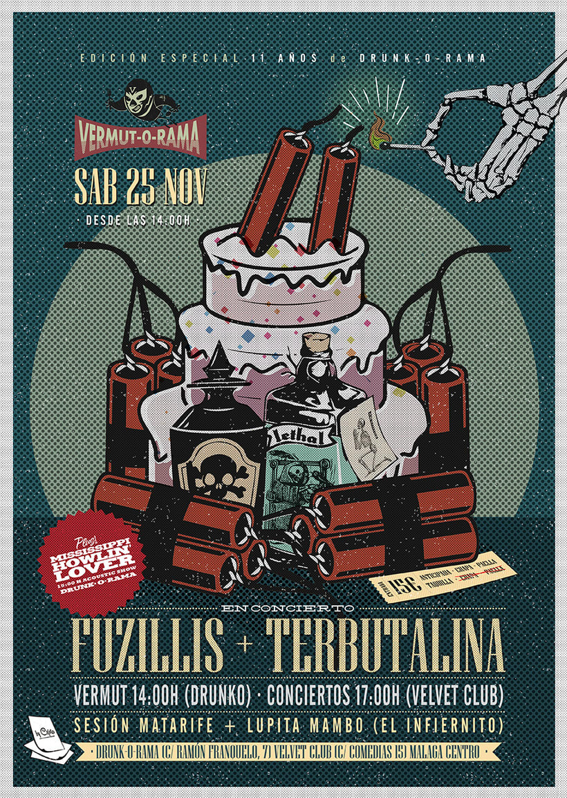 FUZILLIS + TERBUTALINA + 11 ANIVERSARIO DE DRUNK-O-RAMA - Vermut-O-Rama poster -1