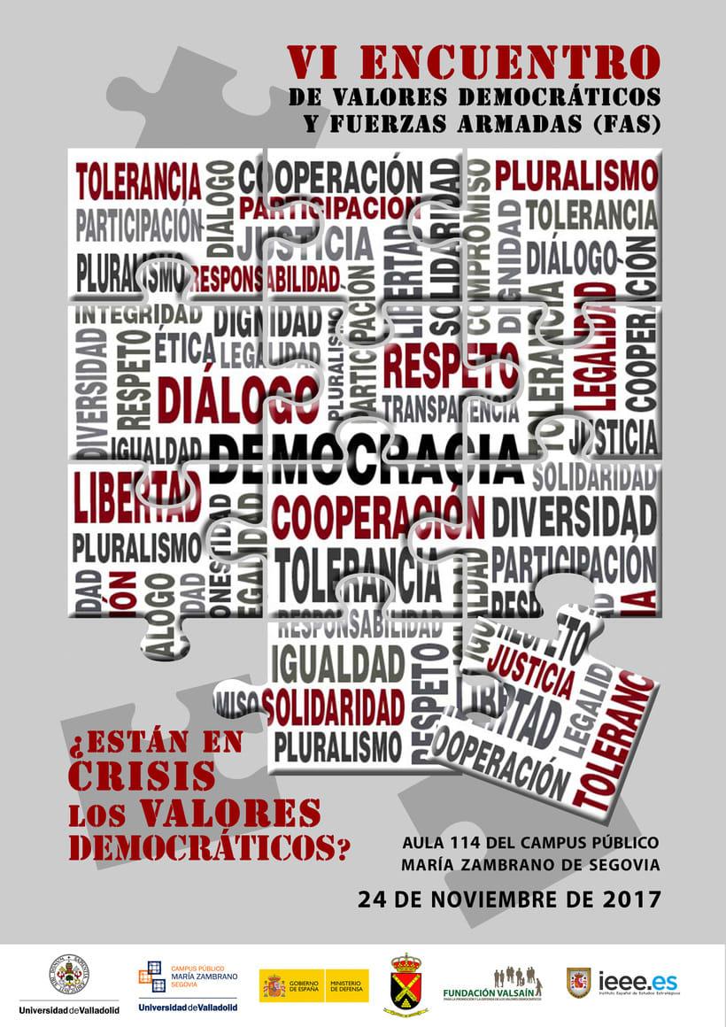 VI ENCUENTRO DE VALORES DEMOCRÁTICOS Y FUERZAS ARMADAS (FAS) | 1º Premio del concurso de carteles 0