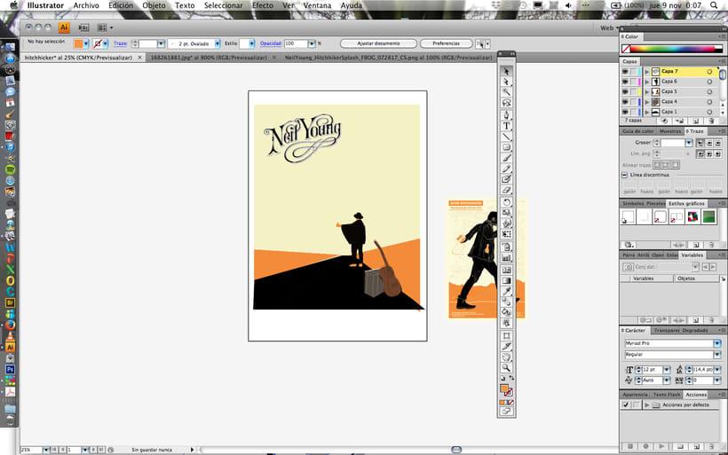 Mi Proyecto del curso: Cartelismo ilustrado. Neil Young toca hoy en mi pueblo. 8