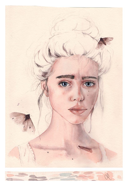 """Mi Proyecto del curso: Retrato ilustrado en acuarela - """"Lyse"""" 0"""