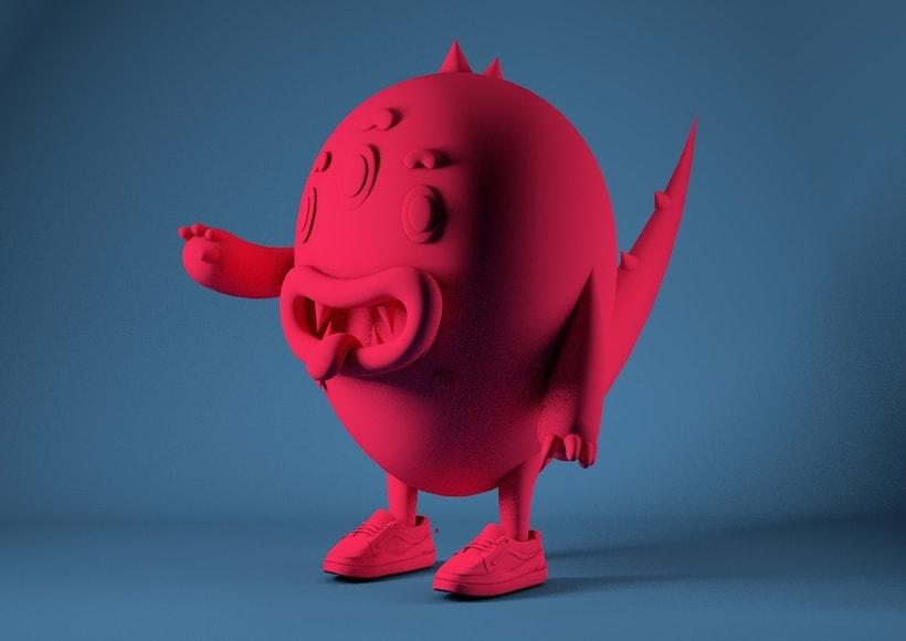 Diseño de personaje en 3D e integración del mismo en una foto de @coudlain 3