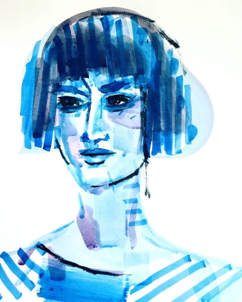 Retratos trazos de color  -1