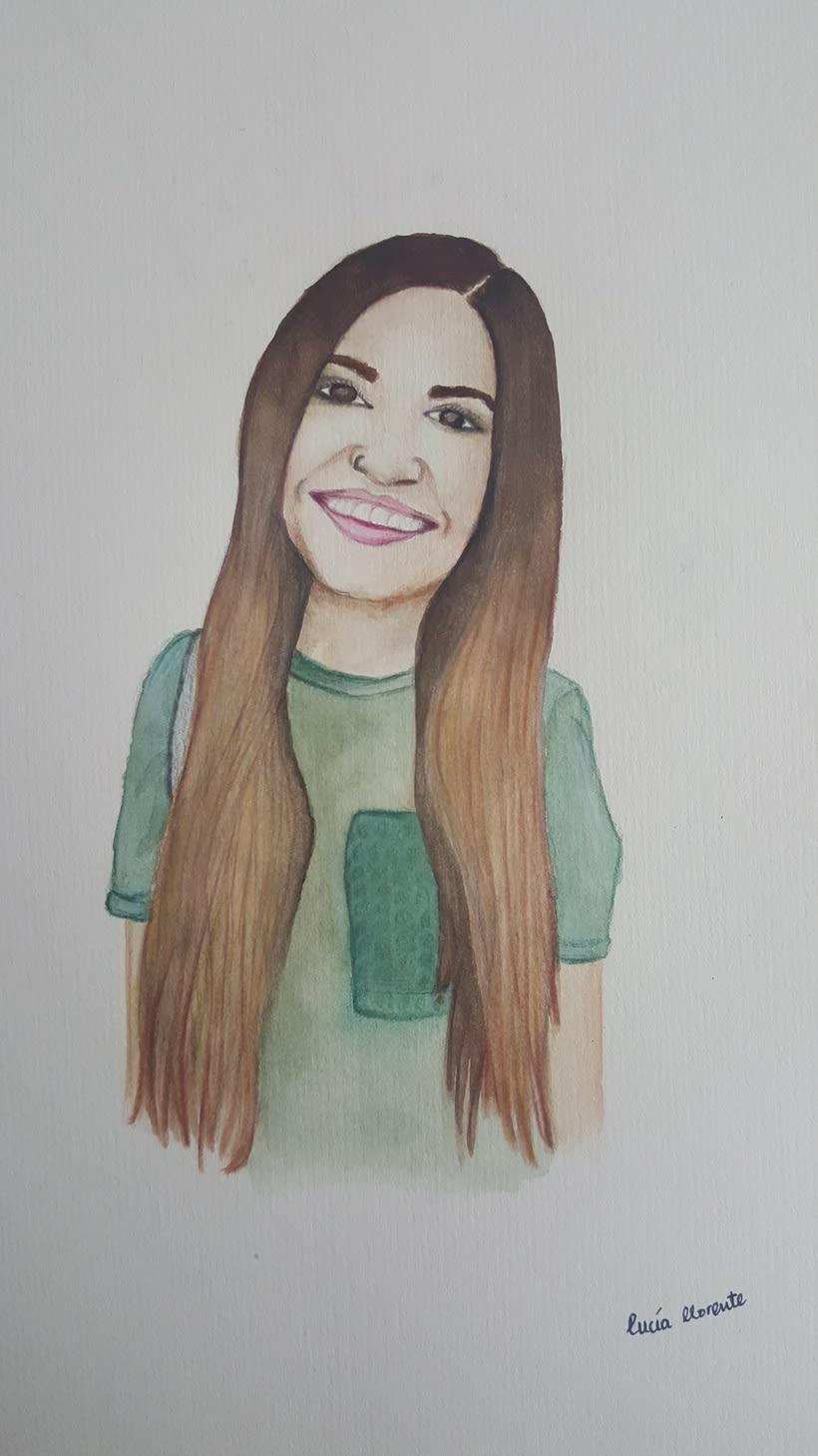 Retrato Carolina García (Cantante) en acuarela y lápices de colores 0