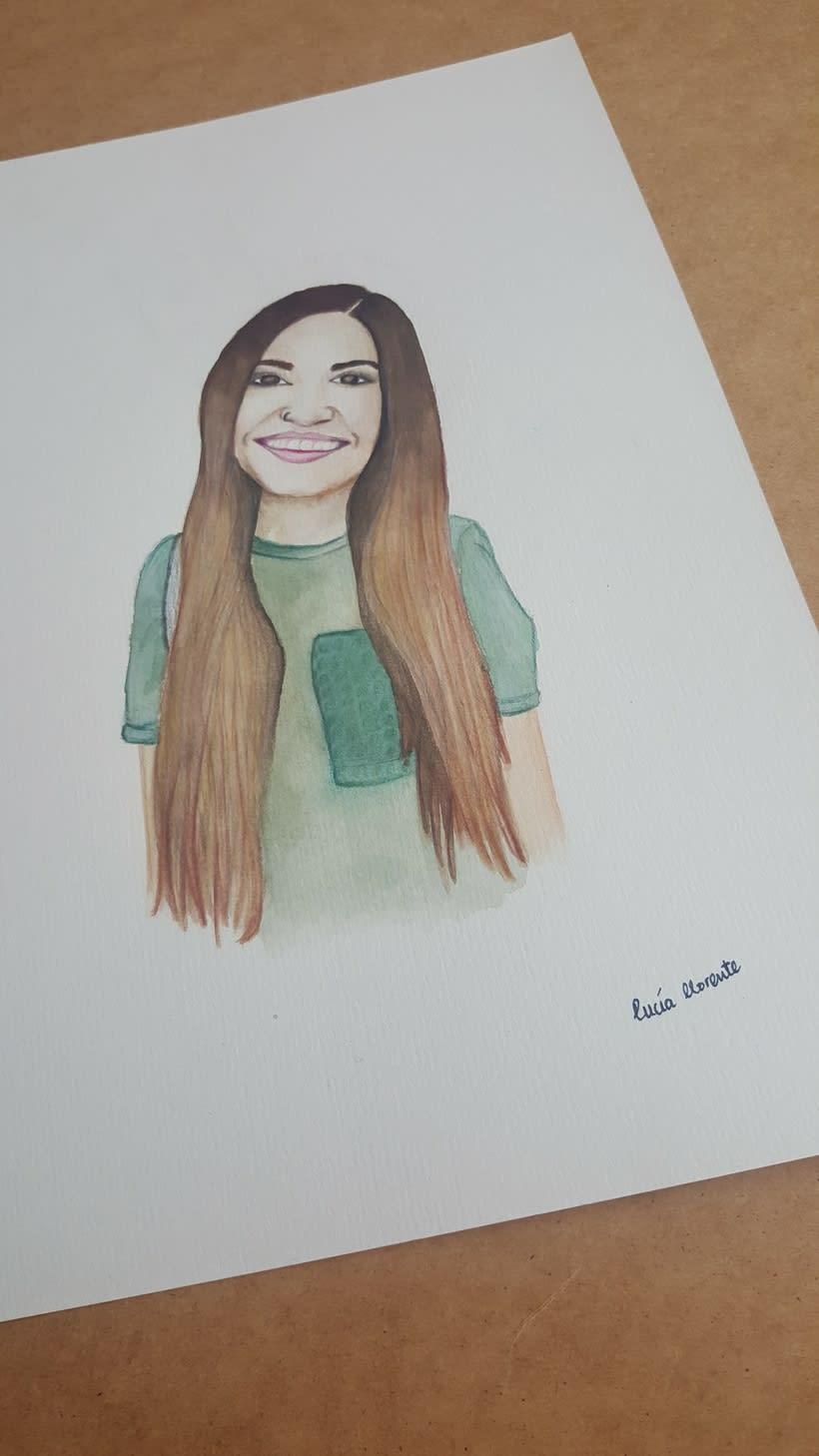 Retrato Carolina García (Cantante) en acuarela y lápices de colores 1