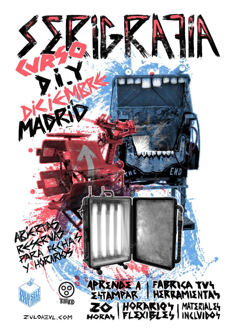 Curso de serigrafía DIY en Madrid Diciembre 2017 zulo azul 1