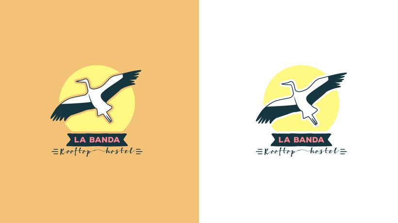 Mi propuesta de logotipo para La Banda Rooftop Hostel. -1