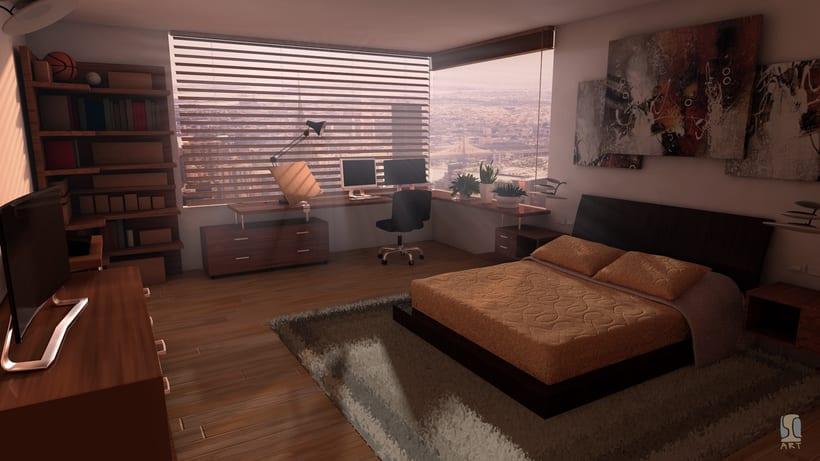 Modelado e iluminación de habitación C4D 0