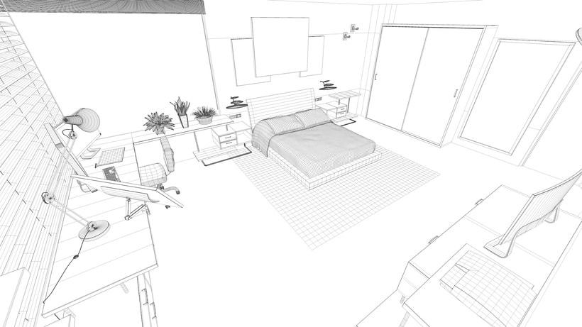 Modelado e iluminación de habitación C4D 4