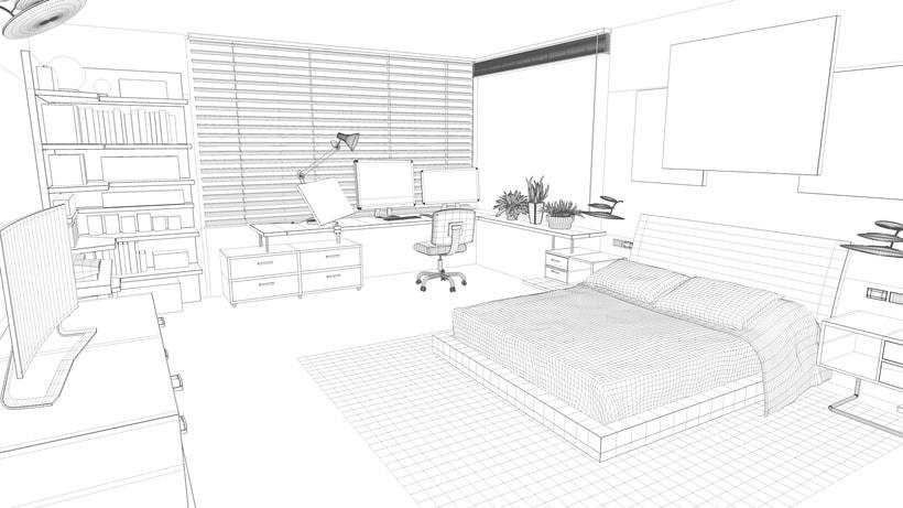 Modelado e iluminación de habitación C4D 2