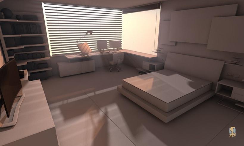 Modelado e iluminación de habitación C4D 3
