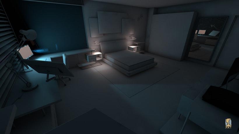 Modelado e iluminación de habitación C4D 5