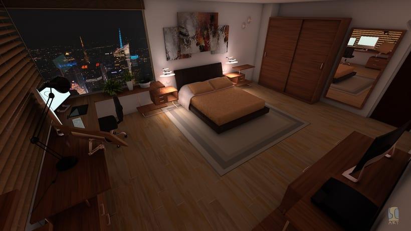 Modelado e iluminación de habitación C4D 1
