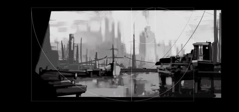Puerto futurista pre-apocalíptico: Iniciación al concept art: diseñando el futuro 2