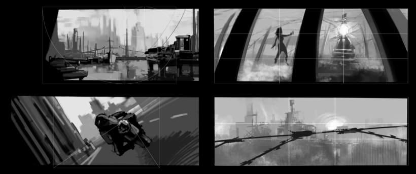 Puerto futurista pre-apocalíptico: Iniciación al concept art: diseñando el futuro 1