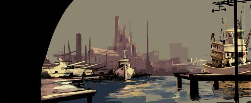 Puerto futurista pre-apocalíptico: Iniciación al concept art: diseñando el futuro 3