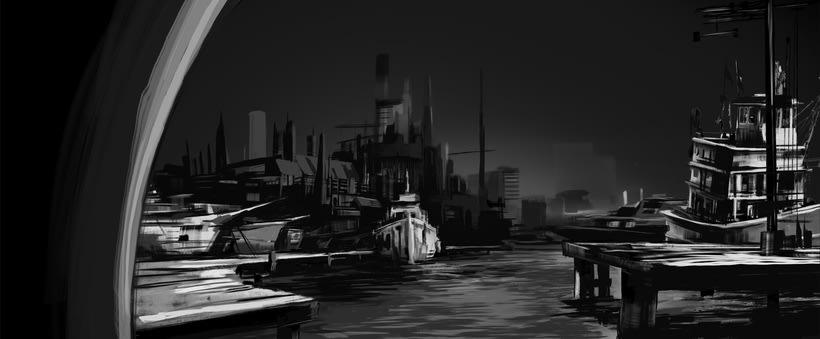 Puerto futurista pre-apocalíptico: Iniciación al concept art: diseñando el futuro 4