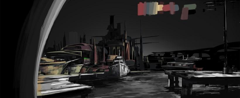 Puerto futurista pre-apocalíptico: Iniciación al concept art: diseñando el futuro 5
