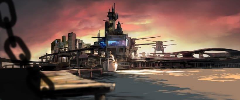 Puerto futurista pre-apocalíptico: Iniciación al concept art: diseñando el futuro 0