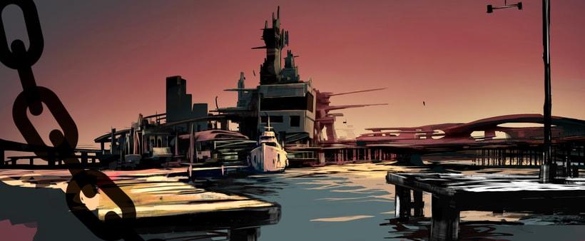 Puerto futurista pre-apocalíptico: Iniciación al concept art: diseñando el futuro 6