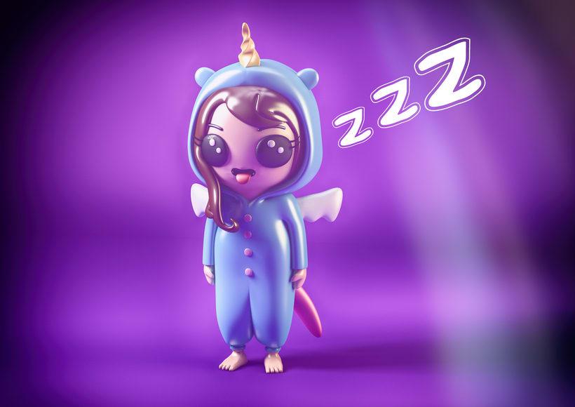 Diseño de personajes en Cinema 4D : Hora de Dormir -1