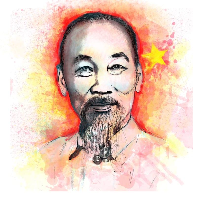 Retrato de Hồ Chí Minh, para el curso retrato ilustrado con photoshop 0