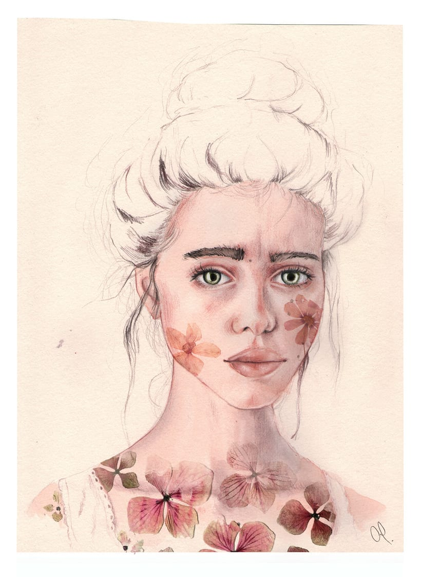 """Mi Proyecto del curso: Retrato ilustrado en acuarela - """"Lyse"""" 5"""